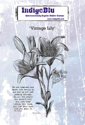 Vintage Lily A6 Red Rubber Stamp